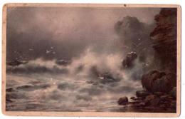 3591 - Cp Sans Titre - Tableau Signé - Paysage Maritime De Tempête - Signature - - Cartes Postales