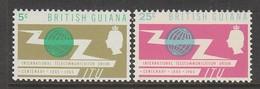 PAIRE NEUVE DE GUYANE BRITANNIQUE - CENTENAIRE DE L'UNION INTERNATIONALE DES TELECOMMUNICATIONS N° Y&T 219/220 - Télécom