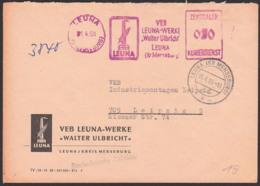 Leuna Merseburg ZKD-AFS Leuna-Werke Walter Ubricht 1,4,66, Schornstein Esse, Getreideähre Chemie - Service
