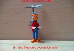 """Kinder 1989 : Géo Trouvetou Avec Héliportable Bleu """"Donald Explorateur"""" - Cartoons"""