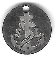 Jeton De Caddie  Argenté  S - L  Avec  Ancre  De  Marine  Et  Croix  De  Lorraine - Jetons De Caddies