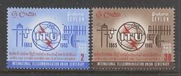 PAIRE NEUVE DE CEYLAN - CENTENAIRE DE L'UNION INTERNATIONALE DES TELECOMMUNICATIONS N° Y&T 353/354 - Télécom