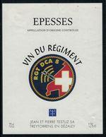 Rare //Etiquette De Vin // Militaire //  Epesses, Vin Du Régiment RGT DCA 8 - Militaire