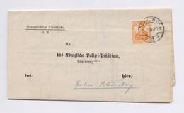 DR Dienstbrief Königliche Polizei Präsidium EF D 99 Perfin O TSt BERLIN  1917 - Dienstpost