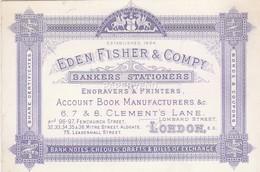 Trade Card   Eden Fisher & Co. Bankers Stationer   LONDON Etc30 - Trade Cards