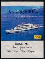 """Rare //Etiquette De Vin // Bateaux //  Rosé 93, La Gresollière, Bateau  """"Lausanne"""" - Etiquettes"""