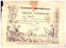 Tableau D Honneur De Saint Flour 1953 (fmt 16 X 12) - Diplômes & Bulletins Scolaires