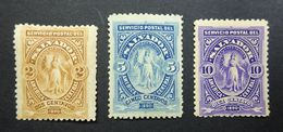 """El Salvador 1890 Mi:SV 28/SV 30/SV 31 2c/5c/10c """"Victory In The Oval"""" Mint Hinged (MH). - El Salvador"""