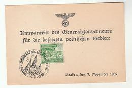 1939 KRAKAU Poland EVENT COVER Start Of General Government GERMANY  Stamps Card - General Government