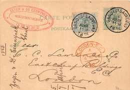 BELGIQUE  -  Entier Postal  5 Centimes ( Gand Saint Sauveur ) Pour London - 1885 - Entiers Postaux