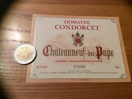 Etiquette Vin 1988 «CHATEAUNEUF-DU-PAPE - DOMAINE CONDORCET - BOUCHE AUDIBERT (84)» - Côtes Du Rhône