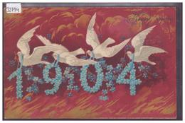 BONNE ANNEE - MILLESIME 1904 - CARTE EN RELIEF - PRÄGE KARTE - TB - Nouvel An