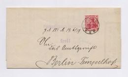 DR Portopflichtige Dienstsache Frei! EF 10Pfg Germania Perfin O TSt BERLIN 1919 - Dienstpost