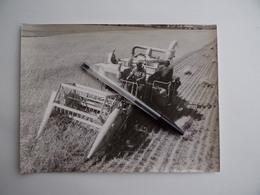 Photo Originale Machine Agricole FAUCHEUSE BATTEUSE LANZ Ets M.GIBOUIN à NANGIS 77 Agriculture Paysan Céréalier - Métiers