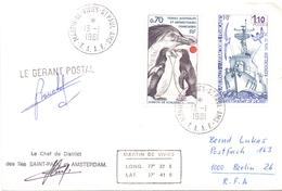 TAAF 1981 MARTYION DE VIVIES STPAUL  AMSTERDAM  COVER   (DICE180007) - Navi Polari E Rompighiaccio