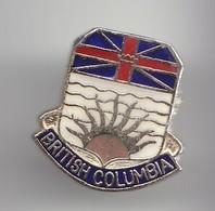 Pin's Britsh Columbia Drapeau Anglais Et Soleil Réf 3586 - Villes
