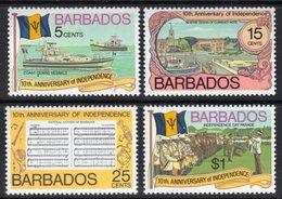 BARBADOS - 1976 INDEPENDENCE ANNIVERSARY SET (4V) FINE MNH ** SG 569-572 - Barbades (1966-...)