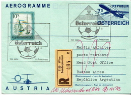 Postal History Cover: Austria R Cover, Aerogramme - World Cup