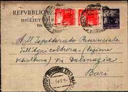 71137) BIGLIETTO POSTALE  DA 4 LIRE+2X3 LIRE DEMOCRATICA DA NAPOLI A BARI IL 4-3-1948 - 6. 1946-.. Repubblica