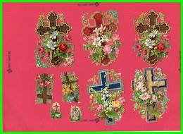 Neuf Chromos Découpis - Motifs Religion Croix Fleuries.(recto Verso) - Sonstige