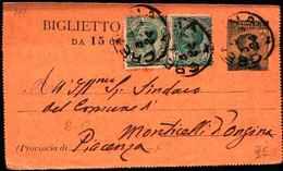 71138) BIGLIETTO POSTALE  DA 15 C. MICHETTI+2X5 C. LEONI DA  IL 5-3-1919 - Interi Postali