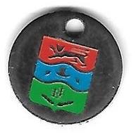 Jeton De Caddie  Argenté  Rouge, Bleu, Vert  Avec  Un  Animal  CHAT  Dans  Le  Rouge - Jetons De Caddies
