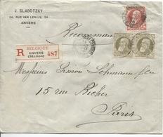 2565/ TP 74 -75(2) S/L.recommandée J.Slabotzky C.Anvers Gare Centrale Valeurs 1906 V.Paris C.d'arrivée - 1905 Grosse Barbe