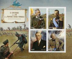 Benin 2018 MNH WWI WW1 First World War I Czar Nicholas Wilhelm II Woodrow Wilson 4v M/S Military Stamps - Militaria