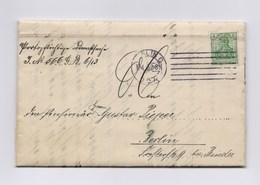 """DR Dienstbrief """"Königliche Eisenbahndirektion"""" EF 5Pfg Germania Perfin TSt BERLIN 1913 - Germany"""