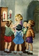 BUON NATALE  Bambina Suona L'organo Bimbi Cantano  Spartito  Candele  Sign. Anna - Altri