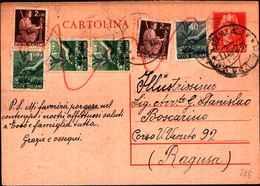 71147) INTERO POSTALE DA 60 C. TURRITA+40C.+3X1L.+2X2L. DEMOCRATICA DA VIZZINI  A RAGUSA IL 14-9-1947 - Interi Postali