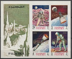 FUJEIRA - BLOC ** NON DENTELE (1969) Retrospective Surcharge Apollo 10 - ESPACE - - Space