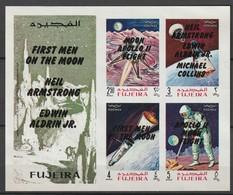 FUJEIRA - BLOC ** NON DENTELE (1969) Retrospective 3 Types En Surcharge Noir- ESPACE - - Space