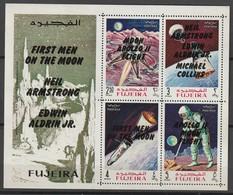 FUJEIRA - BLOC **  DENTELE (1969) Retrospective 3 Types En Surcharge Noir- ESPACE - - Space