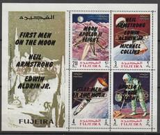 FUJEIRA - BLOC **  DENTELE (1969) Retrospective 3 Types En Surcharge Noir+Apollo 10 - ESPACE - - Space