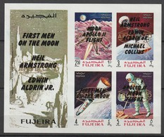 FUJEIRA - BLOC **  NON DENTELE (1969) Retrospective 3 Types En Surcharge Noir+Apollo 10 - ESPACE - - Space