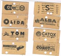 Titre Transport  Métropolitain PARIS  S  8 Tickets Dont 7 Publicité Différente Ticket Métro Dont MONTMARTRE Pub - Métro
