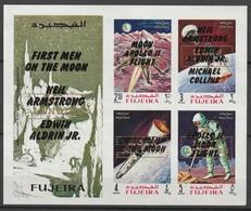 FUJEIRA - BLOC **  NON DENTELE (1969) Retrospective 3 Types En Surcharge Noir+MOON LANDING - ESPACE - - Space