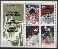 FUJEIRA - BLOC ** DENTELE (1969) Retrospective 3 Types En Surcharge Noir+MOON LANDING - ESPACE - - Space