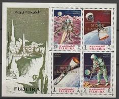 FUJEIRA - BLOC ** DENTELE (1969) Retrospective Surcharge : MOON LANDING - ESPACE - - Space