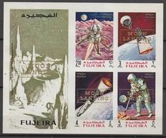 FUJEIRA - BLOC ** NON DENTELE (1969) Retrospective Surcharge : MOON LANDING - ESPACE - - Space