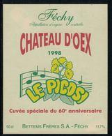 Rare //Etiquette De Vin // Musique // Féchy, Le Picosi, Cuvée Du 60ème - Musique