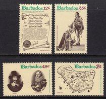BARBADOS - 1977 CHARTER ANNIVERSARY SET (4V) FINE MNH ** SG 586-589 - Barbades (1966-...)
