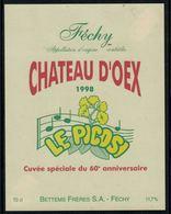 Rare //Etiquette De Vin // Musique // Féchy, Château D'Oex 1998, Le Picosi, Cuvée Du 60ème - Musique