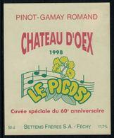 Rare //Etiquette De Vin // Musique // Pinot-Gamay, Château D'Oex 1998, Le Picosi, Cuvée Du 60ème - Musique