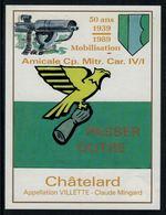 Rare //Etiquette De Vin // Militaire // Vilette, 50 Ans De La Mob Amicale Cp.Mitr.Car.IV/I - Militaire