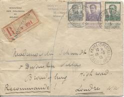 2567/ TP 115-117-121 S/L.recommandée Ministère Des Colonies C.Le Havre Sp.1915 V.Londres C.d'arrivées - Guerre 14-18