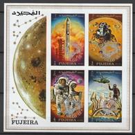 """FUJEIRA - BLOC  ** NON DENTELE (1970) - ESPACE - Gémini/ Apollo : Surcharge """"Safe Landing Apollo 13"""" - Space"""