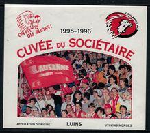 Rare //Etiquette De Vin // Hockey Sur Glace // Luins, Cuvée Du Sociétaire Du Lausanne-Hockey-Club 1995-1996 - Etiquettes