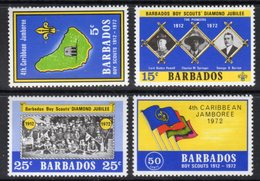 BARBADOS - 1972 SCOUT JUBILEE SET (4V) FINE MNH ** SG 444-447 - Barbades (1966-...)